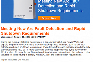 Webinar: Meeting New Arc Fault Detection and Rapid Shutdown Requirements